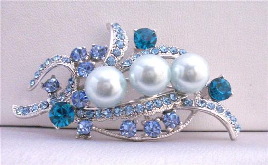 Blue Pearls Brooch Aquamarine Crystals Brooch Silver Brooch Bridal Dress