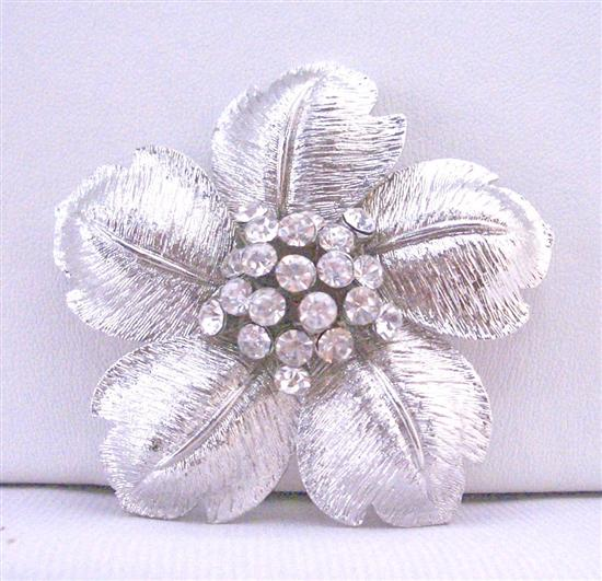 Beautiful Flower Petals In Silver Wedding Brooch Very Classy Gorgeous w