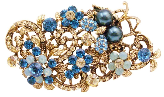 Exquisite Marvelous Brooch Indicolite Jonquil Crystals Boquet Brooch :  brooches jonquil wedding brooch bridal brooch
