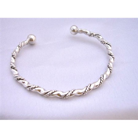 Sterling Silver Bangle Bracelet Ethnic Designed Silver Sterling 92.5