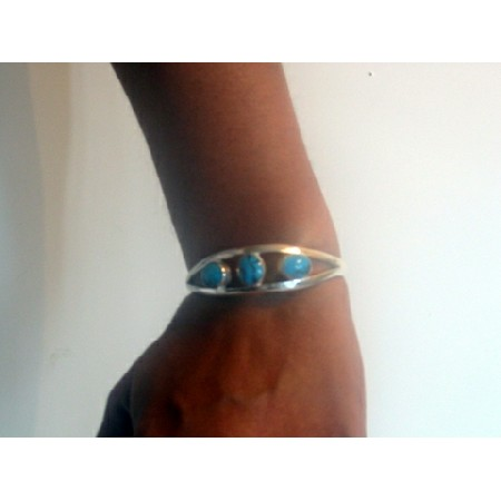 Bracelet Cuff in Sterling 92.5 Stamped w/ Turquoise Stone