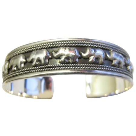 Elephants on Parade Sterling Silver 92.5 Cuff Bracelet