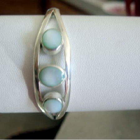3 Stone Lite Green Turquoise Sterling Silver 92.5 Cuff Bracelet