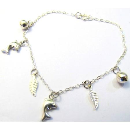 Dangling Dolphin Cross Leves Ball Sterling 92.5 Silver Bracelet