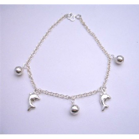 Sterling 92.5 Silver Jingle Bell Chain Bracelets w/ Dolphin Dangling