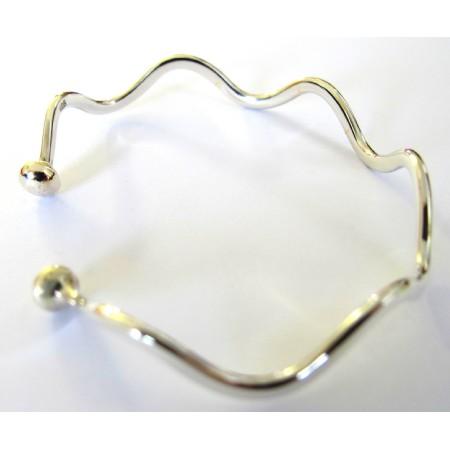 Sterling Silver 92.5 Curve Bracelet Silver Bangle Cuff Bracelet