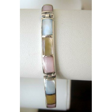 Sterling Silver 92.5 Engraved Mother Pearl Bracelet