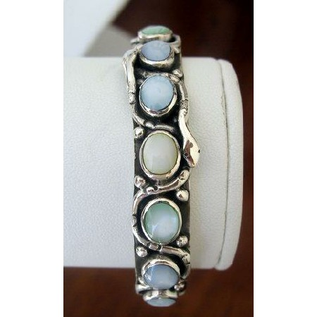 Sterling Silver 92.5 stamped Multi Mother of Pearl Stone Cuff Bracelet