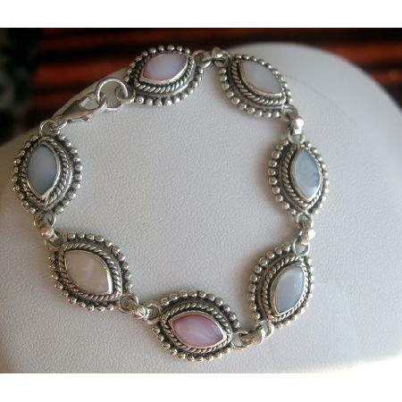 Sterling Silver Multi Mother Of Pearl Bracelet