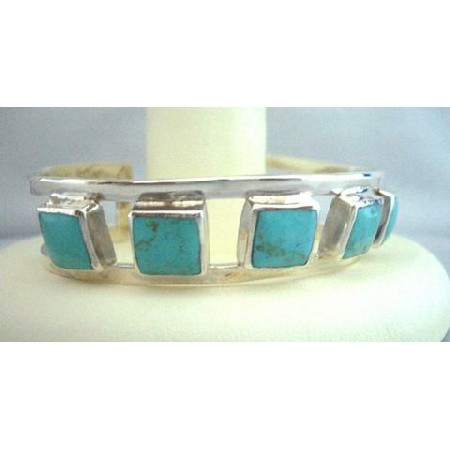 Green Turquoise Square Bangle Sterling Silver 92.5 Cuff Bracelet