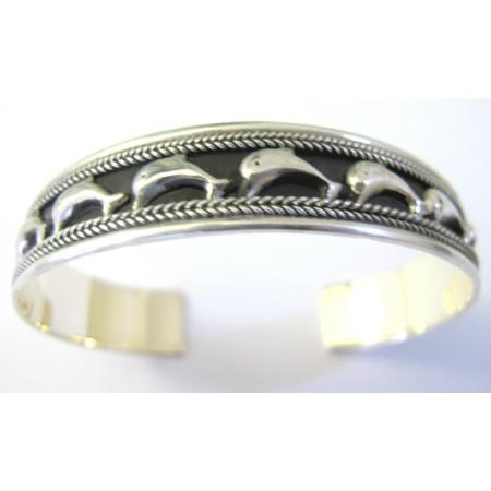 Dolphin on Parade Bracelet Sterling Silver 92.5 Cuff Bracelet