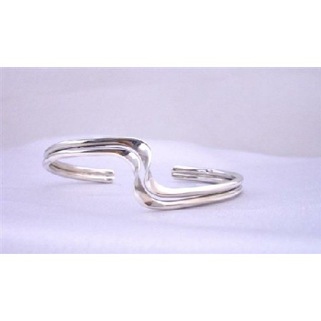 Sharp Curves Double Layer Wavy Design Sterling Silver Cuff Bracelet