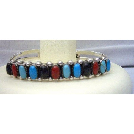 Bracelet Turquoise Coral Onyx Sterling Silver Cuff Bracelet