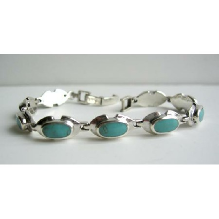 Sterling Silver Green Turquoise w/ Oval Green Turquoise Stone Bracelet