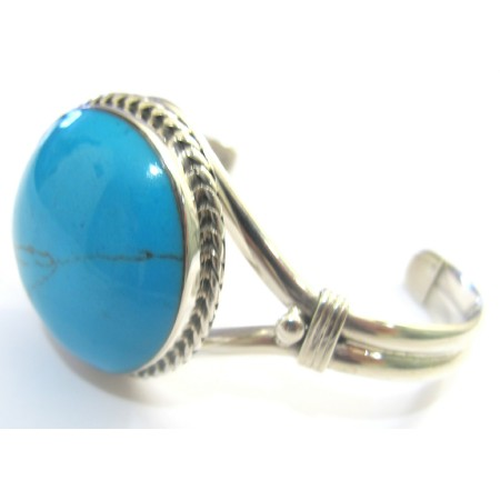 Sterling Silver Cuff Bangle Bracelet Engraved Turquoise Stone Bracelet