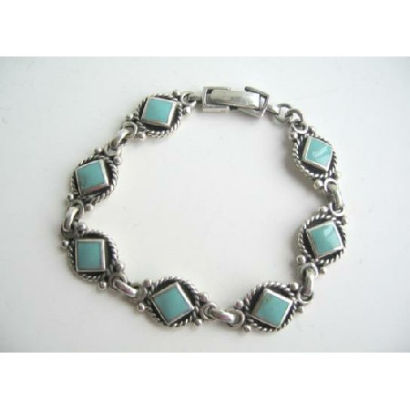 Sterling Silver Oxidized w/ Green Turquoise Cut In Diamond Bracelet