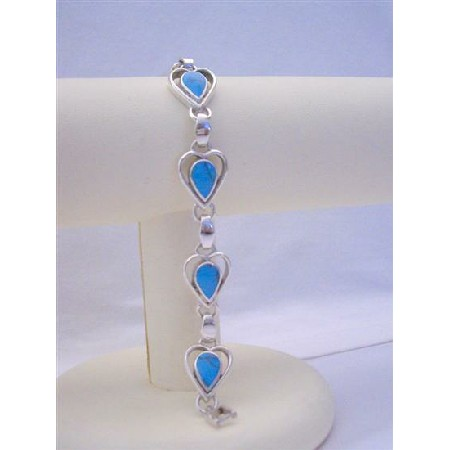 Turquoise Tear Drop Inlaid Stone Sterling Silver 92.5 Bracelet