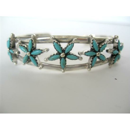 Sterling 92.5 Bracelet Turquoise Design Silver Cuff Bracelet