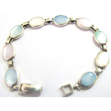 Inlaid Mother Pearl Blue Opal Pale Pink Sterling Silver 92.5 Bracelet