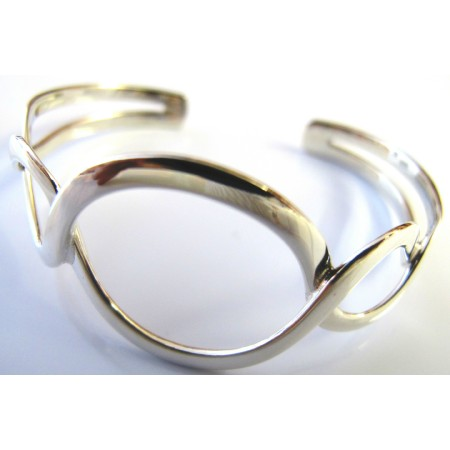 Twisted Round Rings Cuff Bracelet Authentic Sterling Silver 92.5