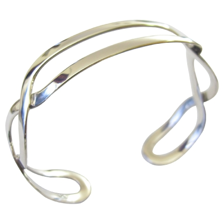 Sterling Silver Twisted Lanes Cuff Bracelet w/ 92.5 Stamped Sterling