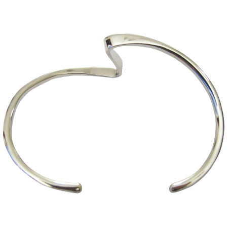 Single Layer Sharp Curves Wavy Design Sterling Silver Cuff Bracelet