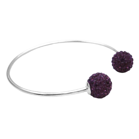 Solid Sterling Silver 92.5 Bangle Amethyst Crystals Ball Mother Gift