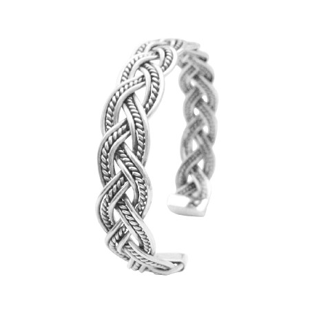 Solid Sterling Silver Twisted Wire Cuff Bracelet Gift To Men Or Women