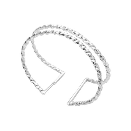 Dress Your Wrist Twisted Drilled Sterling Silver Double Cuff Bracelet