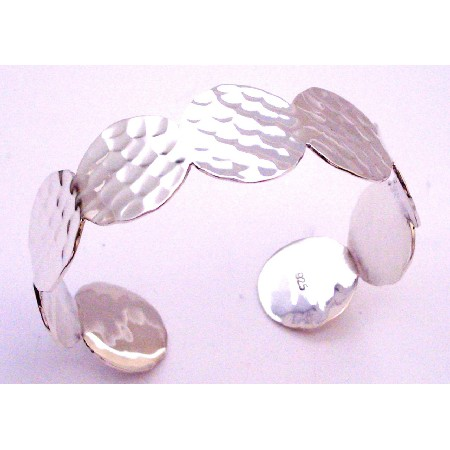 Silver Hammered Cuff Bracelet Dress Up Your Wrist w/ Twisted Drilled