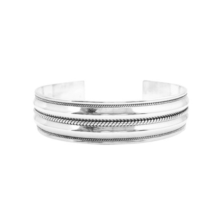 Double Row Sterling Silver Bracelet Twisted Design Mothers Day Gift