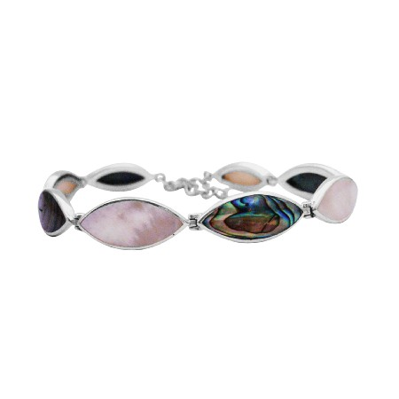 Send Online Gift To Your Beloved Silver Inlay Precious Stone Bracelet
