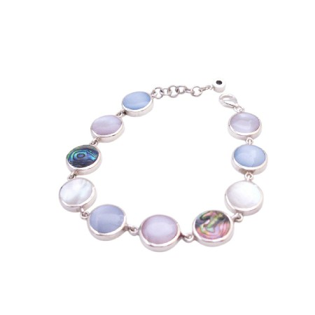 Precious Stone Mother Of Pearls with Abalone Shell Sterling 925 Bracelet