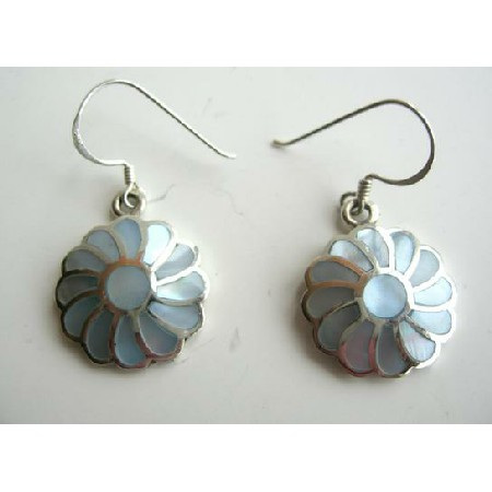 925 Silver Flower with Mother Of Pearls Inlay Earrings