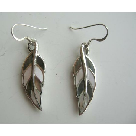 Sterling Silver Mother of Pearls Inlaid Leaf Shaped Earrings