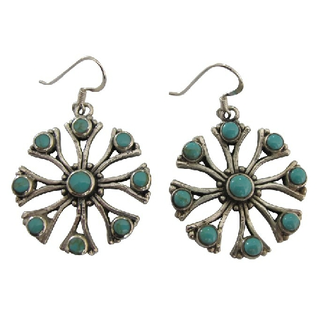 Sterling Silver Green Turquoise Inlay Earrings Silver Flower Earrings