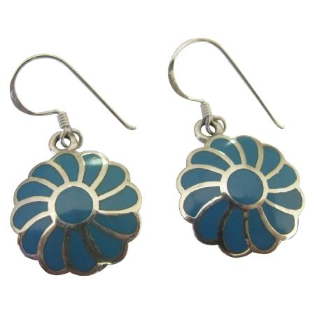 Turquoise Flower Earrings 925 Silver Flower Turquoise Inlay Earrings