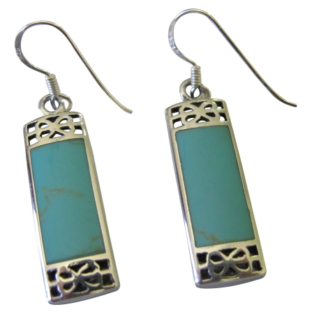FashionJewelryForEveryone.com SER008 Sterling Silver 925 Genuine Turquoise Inlay Earrings