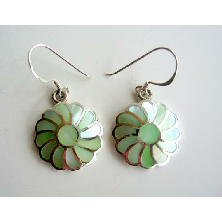 Inlay 925 Sterling Silver w/ Green Mother Of Pearl Flower Earrings