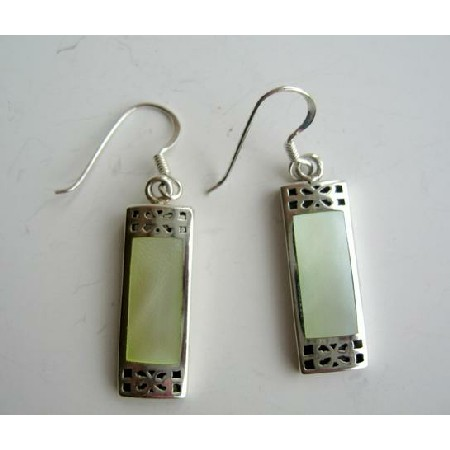 Rectangular Sterling Silver Earrings w/ Leamon Mother of Pearl Inlay