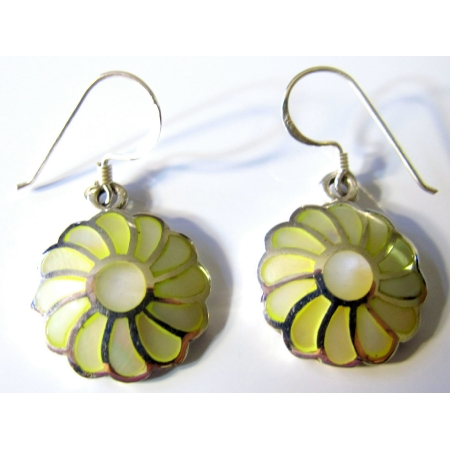 Lemon Mother of Pearl Inlay 925 Sterling Silver Flower Earrings