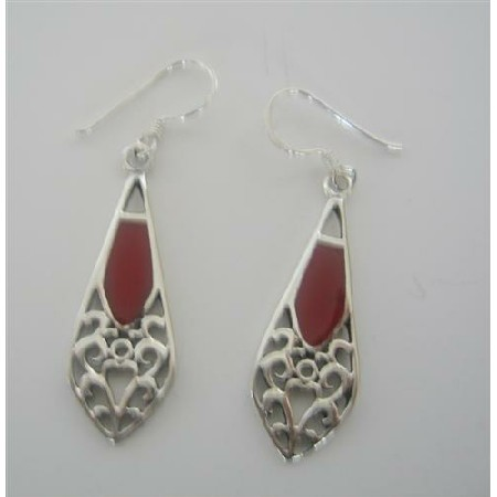Sexy Dainty & Terrific Earrings Sterling Silver Coral Inlay Earrings
