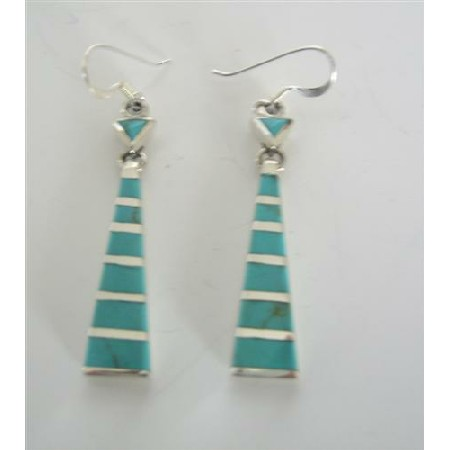 Stylish & Beautiful Green Turquoise Inlaid Sterling Silver Earrings