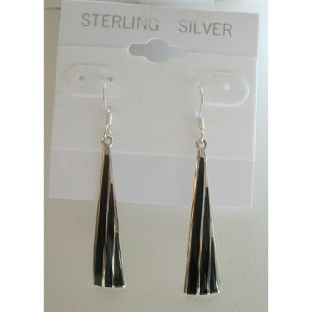 Black Onyx Chandelier Earrings Sterling Silver 925 Earrings
