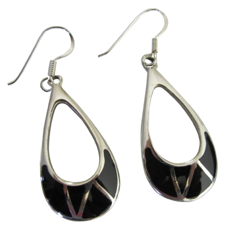 Onyx Inlaide Chandelier Earrings Sterling Silver 925 Stamped