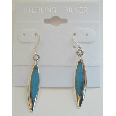 Beautiful & Stylish Inlaid Turquoise Inlaid Sterling Silver Earrings
