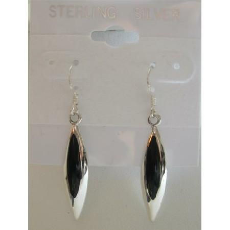 Inlaid Black Onyx Sterling Silver Beautiful & Stylish Earrings
