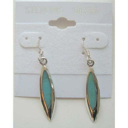 Sterling Silver 925 Earrings Inlaid Green Turquoise Beautiful Earrings