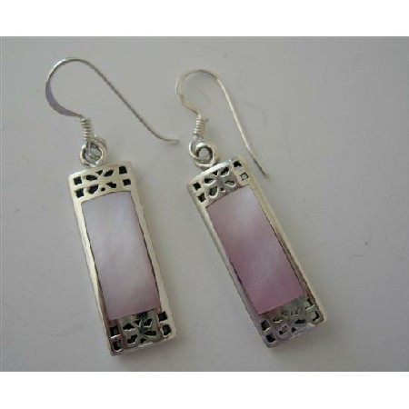 Mother Of Pearl Pink Inlaid Sterling Silver 925 Earrings Sterling Silver