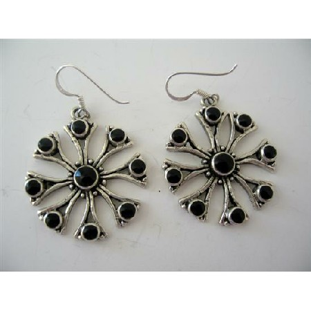 Sterling Silver Onyx Inlay Earrings Silver Flower Earrings